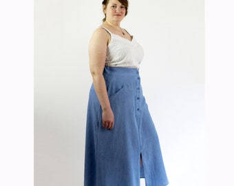 Blue Mary Skirt, Tencel denim womens long flowy skirt, spring fashion, sustainable brand