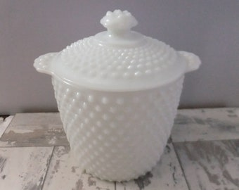 Vintage Hobnail White Milk Glass Cookie Jar with Lid Canister Farmhouse