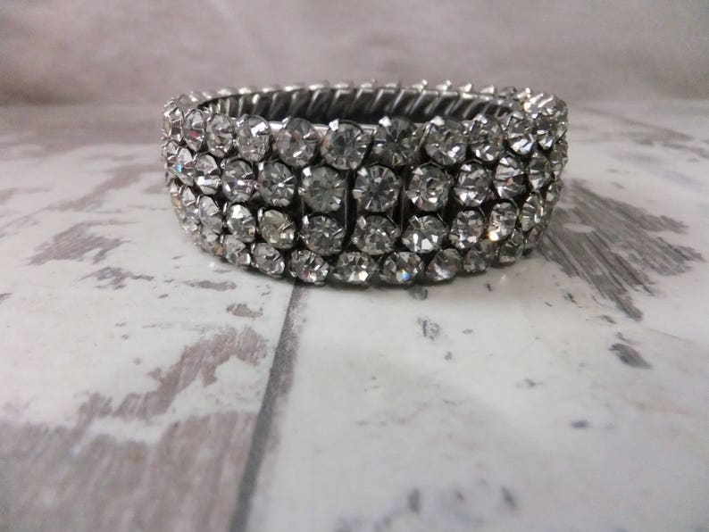 58e156a112ed4 Vintage Rhinestone Bracelet 4 Row Stretch Clear Silver Tone Sparkly Wedding  Costume Jewelry 1950s Flex