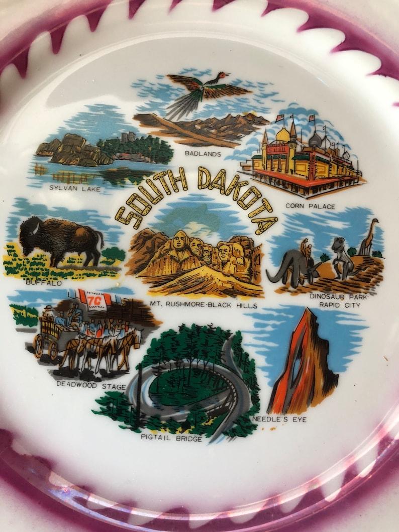 Vintage Plate South Dakota Souvenir State Plate Large Decorative Collector SD Landmarks Plate Travel Vacation Wall Decor