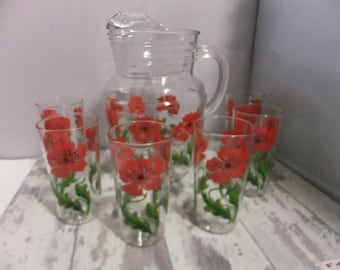Vintage Pitcher and Matching Glasses Set of 6 Red Poppy Pattern Poppies Drinking Water 10 oz Glasses