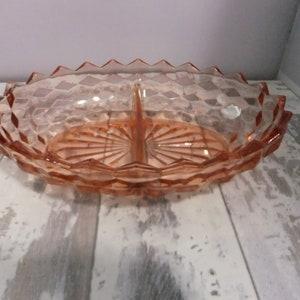 Vintage Pink Depression Glass Serving Bowl with Handles Handled Striped Pattern Art Deco Stripes