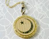 Antique Moon and Star Locket Necklace, Victorian Crescent, Gold Filled Locket, Linear Striped Locket, Celestial Locket, Signed RBM Atrice