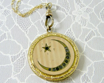 98fe31f04 Antique Moon and Star Locket Necklace, Victorian Crescent, Gold Filled  Locket, Linear Striped Locket, Celestial Locket, Signed RBM Atrice