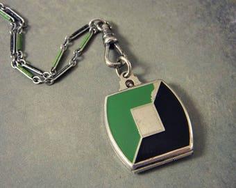 Antique Art Deco Enamel Locket Necklace, Enamel Watch Chain, Green & Black Enamel Locket Necklace, Square Locket, Matching Chain 1920s