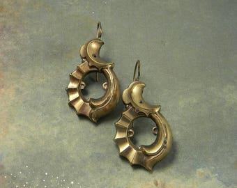 Antique Crescent Moon Earrings, Art Nouveau earrings, Moon Earrings, Celestial Earrings, Pierced Ears, Gold Gilt, Crescent Drop Earrings