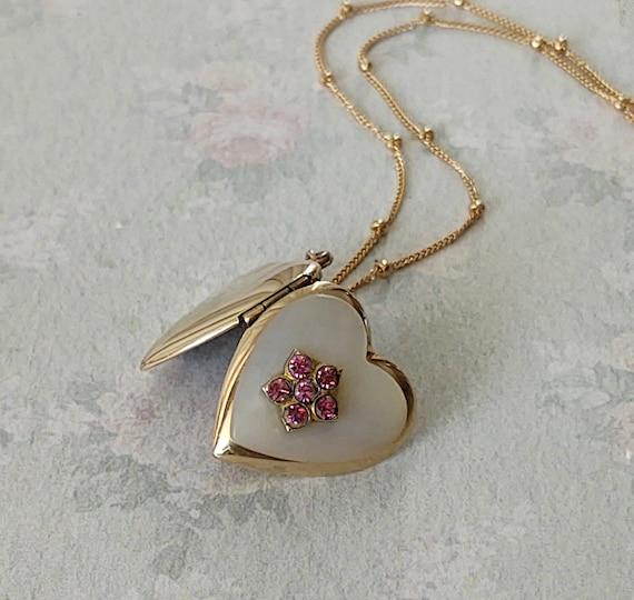 Vintage Heart Flower Locket with Pink Stones, Lock