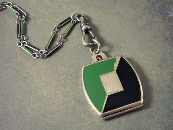 Antique Art Deco Enamel Locket Necklace, Enamel Wa