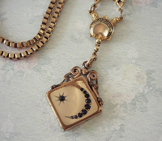 Antique W&H Co Moon and Star Locket Necklace, Art