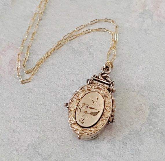 Antique Victorian Dog Locket Necklace, Rose Gold F