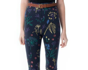 Floral Leggings - Hand Printed - Organic Cotton Leggings - High Waisted Leggings - Slow Fashion - Eco Fashion - Thief and Bandit®