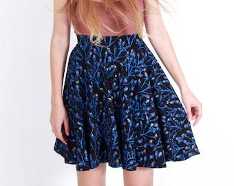 673805ee1 Mini Swing Pocket Skirt, 'Berry' Print in Bright Blue, Organic Cotton