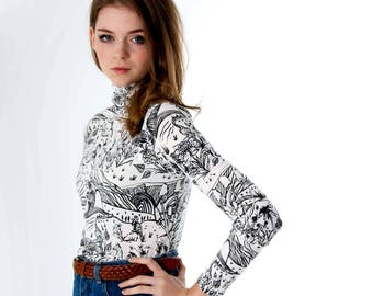 Turtleneck - Hand Printed - Organic Cotton - Floral Turtleneck - Handmade - Slow Fashion - Eco Fashion - Gift for Her -  Thief and Bandit®