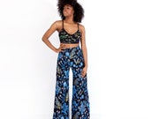 Organic Cotton High Waisted Wide Leg Pants in Bright Blue 'Thistle' Print by Thief&Bandit®