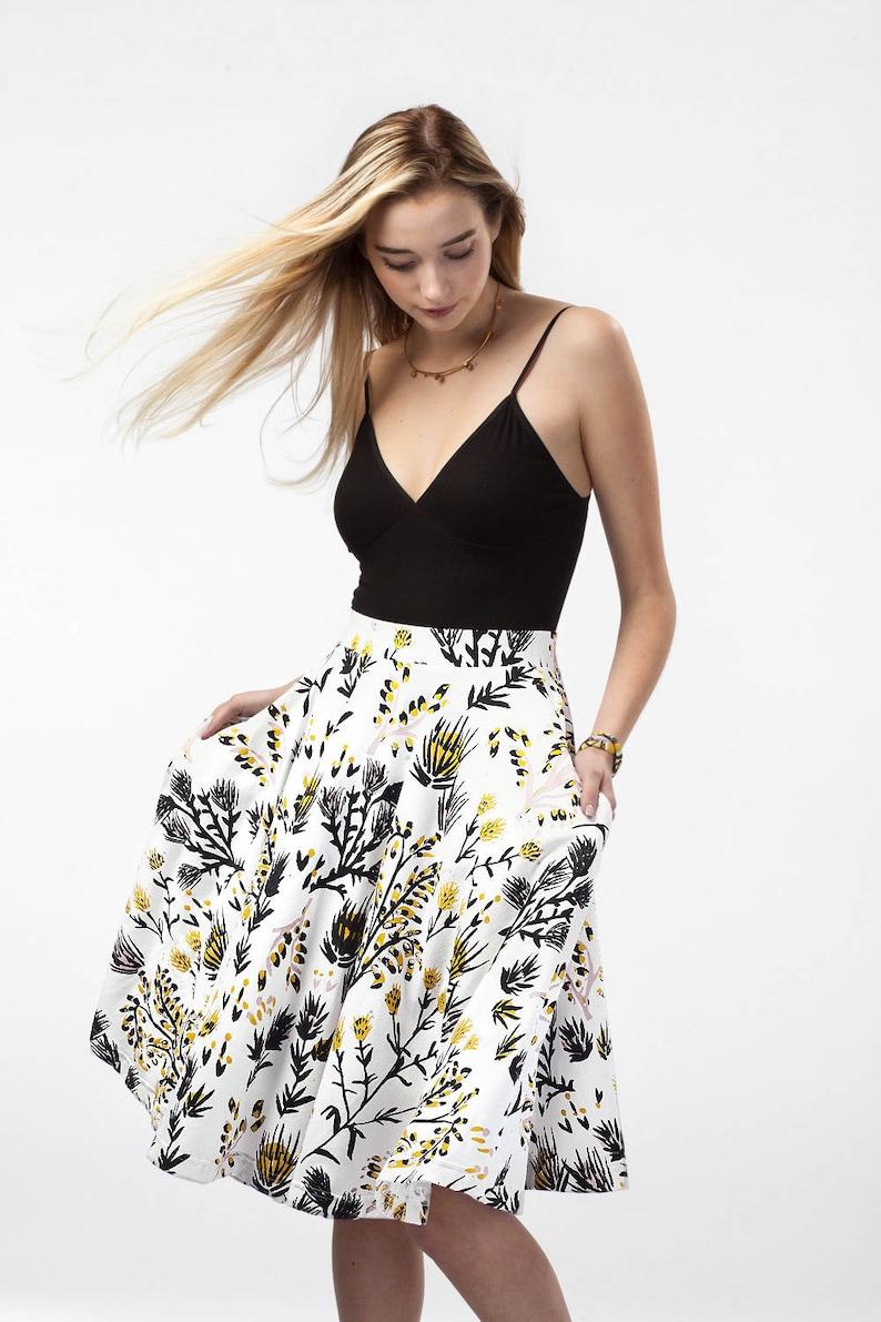 6555cdbe7 Swing Pocket Skirt Hand Printed Organic Cotton Wild | Etsy