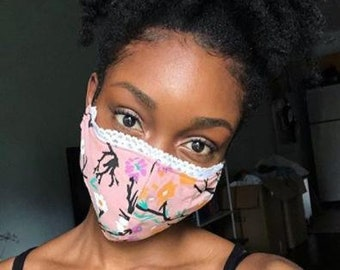 Sustainable Face Mask, Pink Uprooted Organic Cotton with Lace