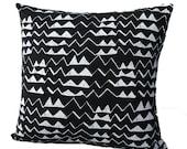 Mountain Pillow in White on Black