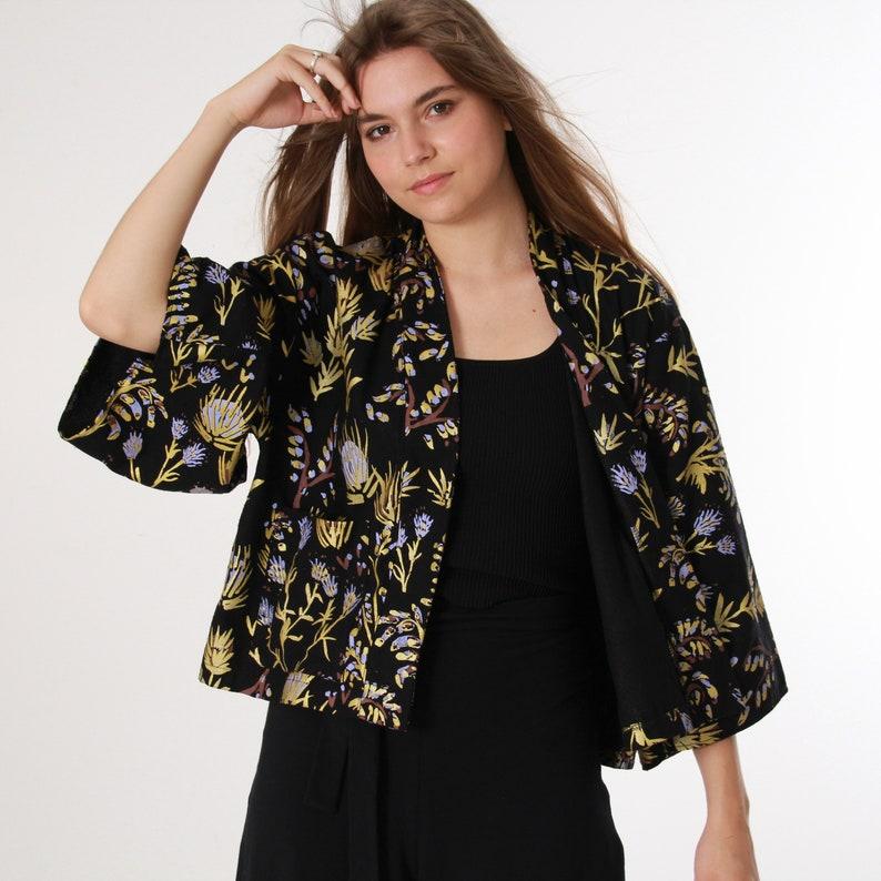 4fdc900506 Kimono Jacket Silk Kimono Black Thistle with Lavender and