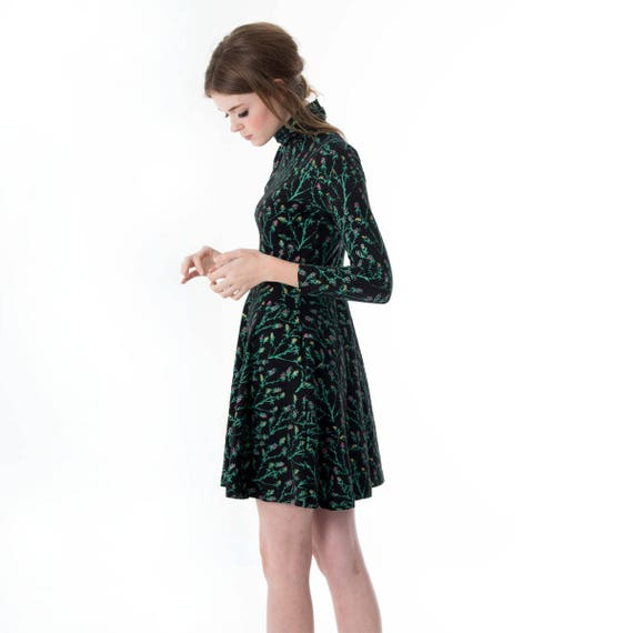 23d6c08086b4 Turtleneck Twirling Dress Swing Dress Printed Dress