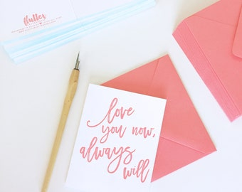 Letterpress Brushed Calligraphy Love note card