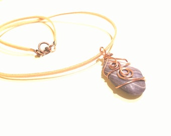 SALE Store Closing Purple Seashell Copper Wire Wrapped Necklace