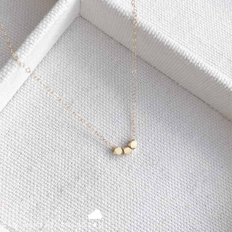 SALE  16 Tiny Gold Bead Necklace  Simple  Minimalist image 0