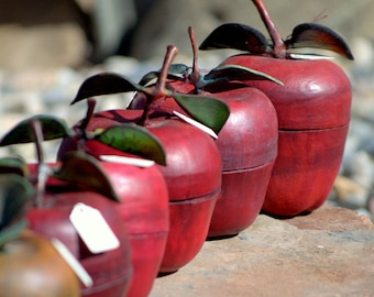 Handmade Leather Red Apple Containers