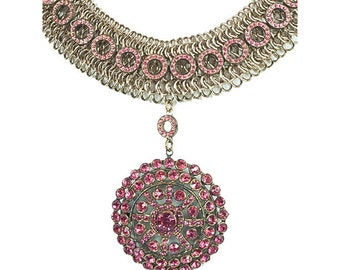 Pink Pendant Statement Necklace  N4928