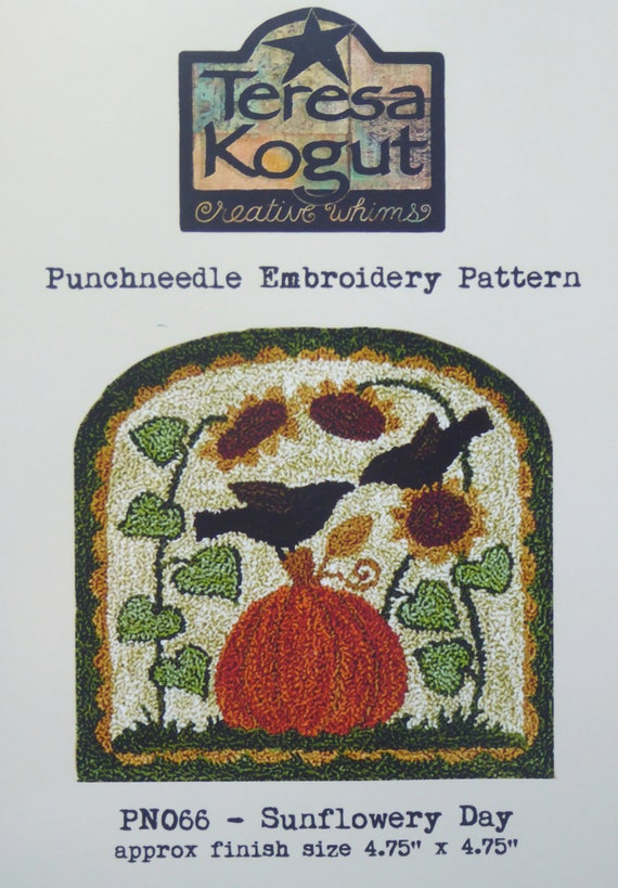 Pickin Flowers Sheep Punchneedle Punch Needle Embroidery Teresa Kogut Pattern PN046