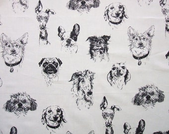 Bow Wow Wow Tea Drawings Black Line Dog Faces Alexander Henry Fabric Yard