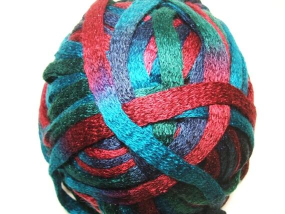 Flounce Ruffle Yarn Knitting Fever KFI~Turquoise/Blue/Burgundy #19