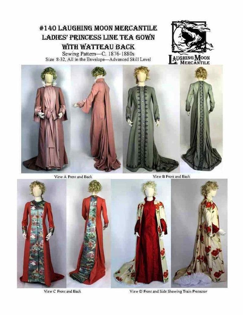 Ladies Princess Line Tea Gown c. 1876-1880s With Watteau Back image 0