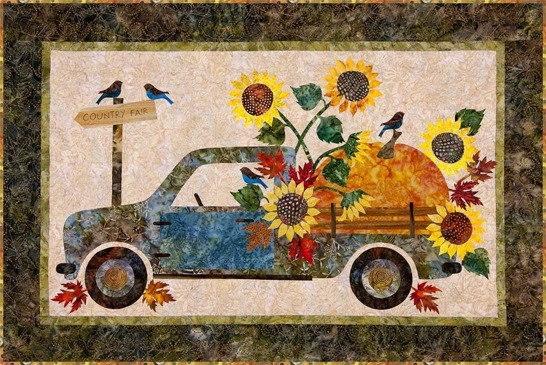 Country fair truck pumpkin sunflowers laundry basket applique etsy