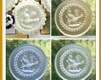 2150 Clear Tinted Wägenbaur Rooster and Chicken Cookie Mold - Springerle Mold - Marzipan Mold - Ornament Mold - Chicken Mold - Clear Mold