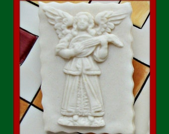 1335 Angel Playing Lute Mold - Springerle Mold - Marzipan Mold - Paper Casting Mold - Ornament Mold - Cookie Mold - Angel Mold - Lute Mold