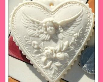 551 Small Königsberg Valentine Heart Mold - Marzipan Mold - Gingerbread Mold - Springerle Mold - Cookie Mold - Angel Mold - Heart Mold