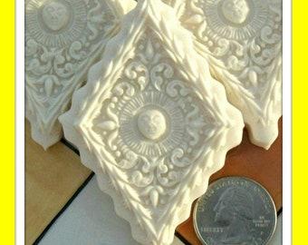 1804 Diamond Sun Mold -Springerle Mold - Cookie Mold - Marzipan Mold - Paper Casting Mold - Ornament Mold - Whimsical Mold - Smiling Sun