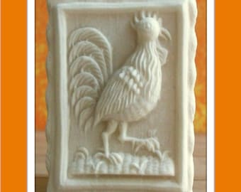 1663 Andreas Rooster Mold - Springerle Mold - Marzipan Mold - Paper Casting Mold - Ornament Mold - Chicken Mold - Cookie Mold - Bird Mold