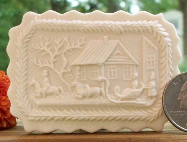 1862 One Horse Sleigh Cookie Mold - Springerle Mold