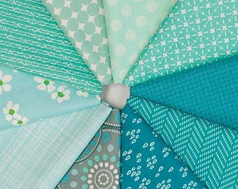 MQ {Stash}builder - AQUA - Fat Quarter Bundle - 10 pieces