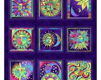 """Celestial Magic Panel by Laurel Burch  CLTY3159-28M Sold by the Half Yard 24"""" x 44"""""""
