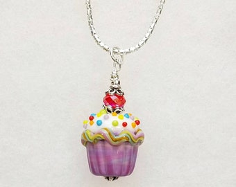 With a Cherry on Top! Artisan Lampwork Glass Cupcake Pendant Necklace with Sprinkles!