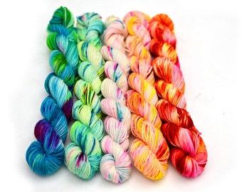 Hand dyed mini skeins sock yarn