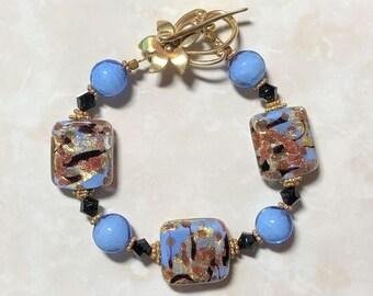 Murano Gold-Foil Aventurine Bracelet
