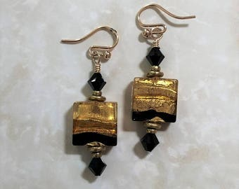 Murano Tri-color Gold-Filled Earrings