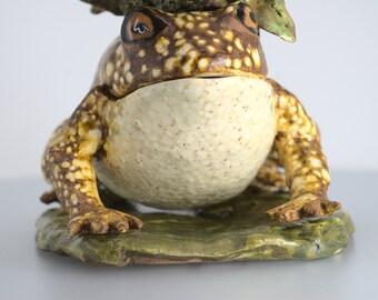 A Big, Bright Toad - Handmade Ceramic Sculpture Box.