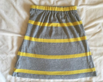 Girls Gray and Yellow Stripped Skirt