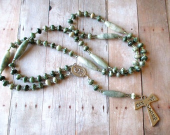 Franciscan Crown Rosary of White and Green Tree Agate with Saint Francis/ Saint Anthony Center and Tau Cross