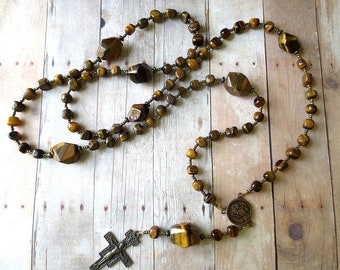Franciscan Crown Rosary of Brown Tiger Eye with Bronze Saint Francis Center and San Damiano Crucifix