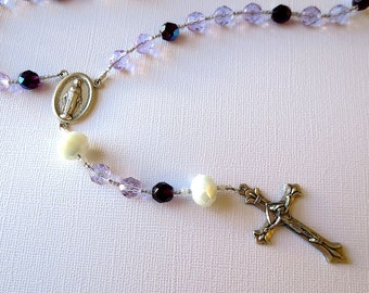 Light Violet Blue and Dark Blue Catholic Rosary with Miraculous Medal Center